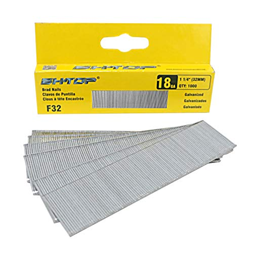 BHTOP F32 1 1/4' 18 Guage Galvanized brad Nails (1000-Pack)