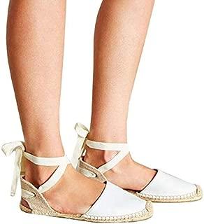 Pxmoda Women's Lace Up Espadrille Sandals Bandage Ankle Buckle Flats Flip Flops