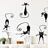 Cute Cat Wall Sticker Set De 5 Cute Cat Vinyl Decals Decoración De La Etiqueta De La Pared 67X30Cm