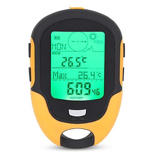 Esenlong Barómetro multifunción FR500 para hombre, con brújula, LCD, termómetro digital, reloj, higrómetro y pronóstico del tiempo, mano y linterna de mano