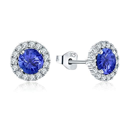 JO WISDOM Ohrstecker Silber 925 Damen Runde Ohrringe mit AAA Zirkonia Kristall Dezember Geburtsstein Tansanit Farbe