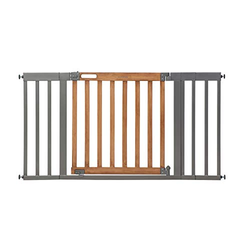 """Summer West End Safety Baby Gate Honey Oak Stained Wood with Slate Metal Frame – 30"""" Tall Fits Openings up to 36"""" to 60"""" Wide Baby and Pet Gate for Wide Spaces and Open Floor Plans"""