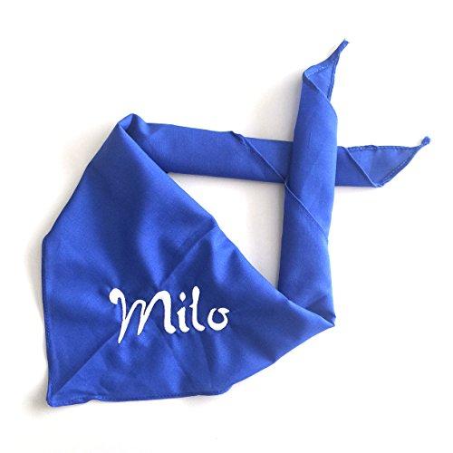 Schnoschi Hundehalstuch Halstuch für Hunde mit Wunschnamen Bestickt in der Farbe Blau