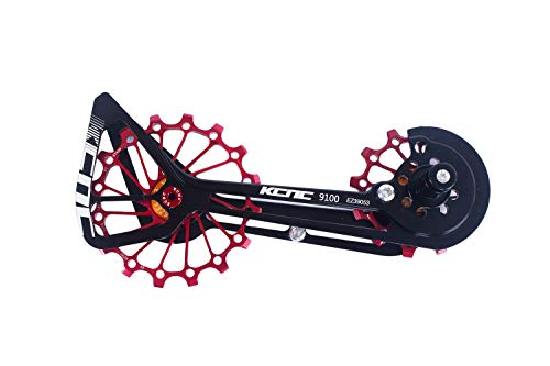 KCNC Road Cyclocross Bicycle Bike OSPW Oversized Derailleur Pulley Wheel System for Shimano R9100 R8000 use 12t top+16t Bottom Pulley in Black/Red/Gold Colors (Red)