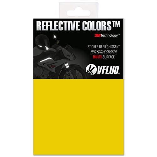 VFLUO 3M Reflective Colors™, Kit de Pegatina Retro Reflectante a Cortar para Casco de Moto/Motocicleta/Bicicleta, 3M Technology™, Hoja de 10 x 15 cm, Amarillo