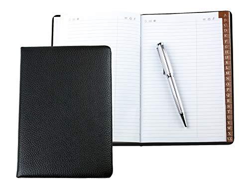 Delon VARONE – Agenda de direcciones personalizable (dorada) DIN A5 encuadernada con registro A-Z Soft Grain Premium de cuero negro, bolsillos agenda telefónica en tapa dura y registro alfabético