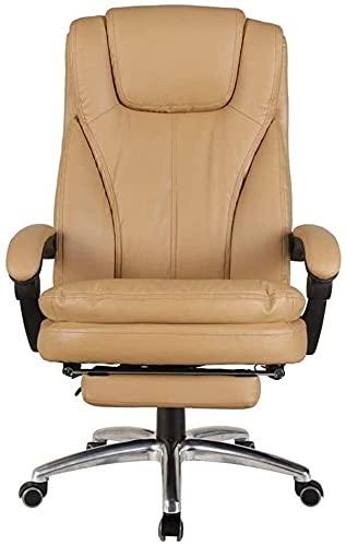 JYHZ Stühle, Home Office Stühle, Polsterhoch Rücken Liegende Leder Liegestühle, Ergonomische Schwenker Reclining Stühle mit Fußschemel, Gaming Chairs (Color : Khaki, Size : with Footrest)
