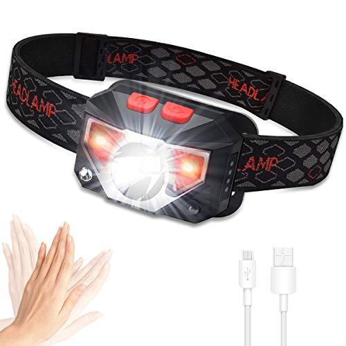 USB Wiederaufladbare LED Stirnlampe, Kopflampe 800 Lumen super helle mit 6 Modi, COB LED Kopflicht IPX45 Wasserdicht Leichtgewichts Mini stirnlampen für Laufen, Joggen, Angeln, Campen, Kinder