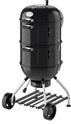 RÖSLE Smoker No.1 F50-S, Variabler Kohlegrill mit zwei Smoker-Ringen oder als Mini-Kugelgrill, 2 x Ø 50 cm, Stahl schwarz, integrierter Wasserbehälter, Deckelthermometer, Räucherrack
