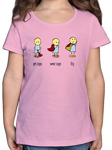 Up to Date Kind - Get Cape. Wear Cape. Fly. - 164 (14/15 Jahre) - Rosa - Cap blau - F131K - Mädchen Kinder T-Shirt