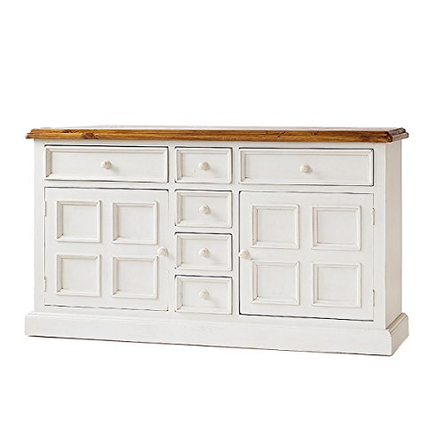 MarkWellMöbel Sideboard Bodde in Kiefer Massivholz Weiß/Honig Maße:B160 x T45 x H91 cm