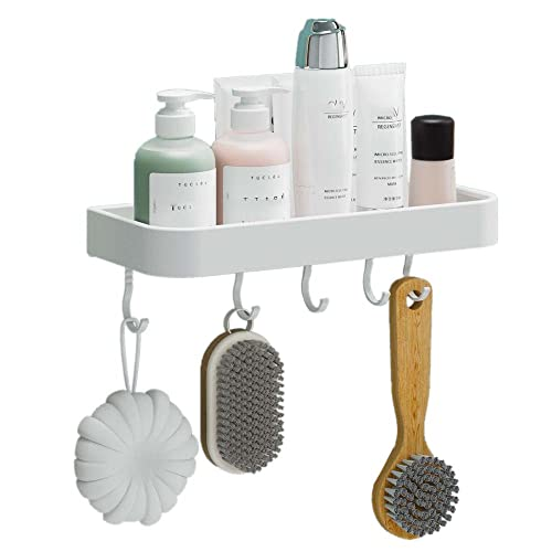 Balda Baño Blanco Estanteria WC Autoadhesiva Cesta Ducha Pared Sin Taladro para baño inodoro-B_30 CENTIMETROS