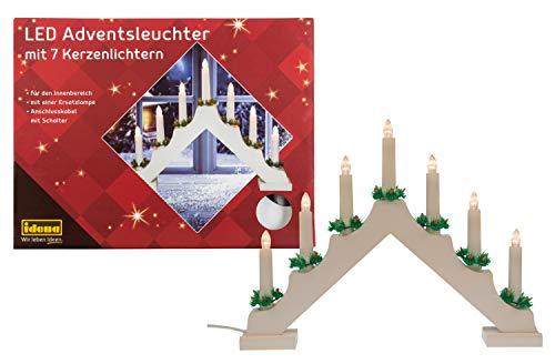 Idena 31837 - LED Adventsleuchter aus weiß lackiertem Holz mit 7 LED Kerzenlichtern, inklusive Ersatzlampe, Anschlusskabel mit Schalter, ca. 40 x 30 cm