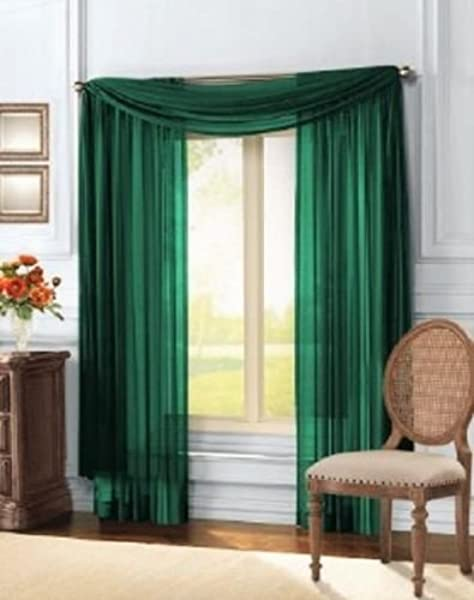 Luxury Discounts 3 Piece Sheer Voile Curtain Panel Drape Set Includes 2 Panels And 1 Scarf 108 Length Hunter Green