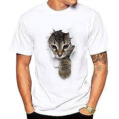 Playera divertida para hombre, diseño de gato, manga corta, cuello en O