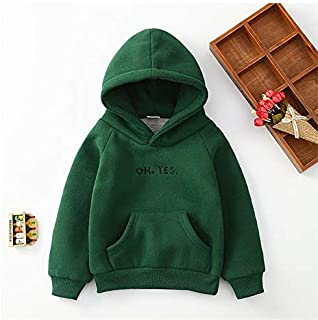 QGT Children Wear Boys and Girls Thicker Letter Embroidery Hooded Long-Sleeved Sweater, Height:90cm(Yellow) (Color : Green)
