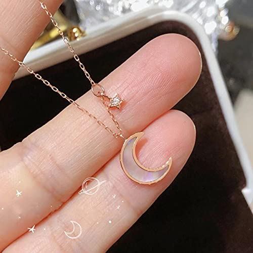zonger Puro 100% Collar de Oro Rosa de 18 Quilates, joyería Fina para Mujer Joven, diseño de Luna y Estrella de Diamantes, Adornos Simples de Moda para Mujeres