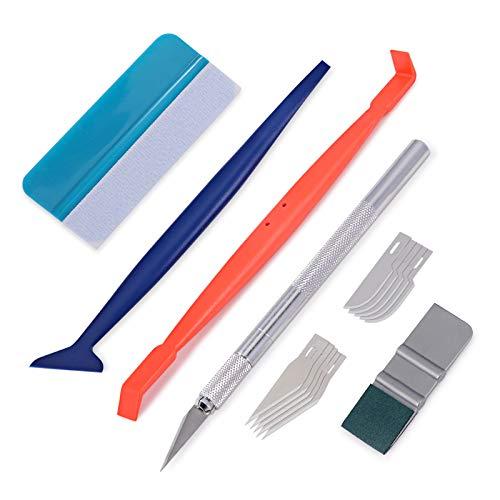 Winjun Auto Vinyl Wrap Set mit Filzrakel Micro Magnet Rakel Folienschneider mit Ersatzklingen für Car Wrapping Folierungs Werkzeug