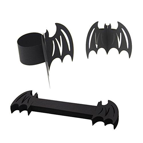 Sharplace 50pcs Rond de Serviette Design Animal Insecte Ajouré en Papier Accessoire Halloween - Noir Chauve-souris