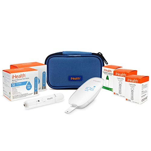 iHealth Wireless Diabetes Testing Kit - iHealth Wireless Blood Glucose Meter BG5, 100 Blood Test Strips, 1 Lancing Device, 100 Count Lancets and Carrying Case