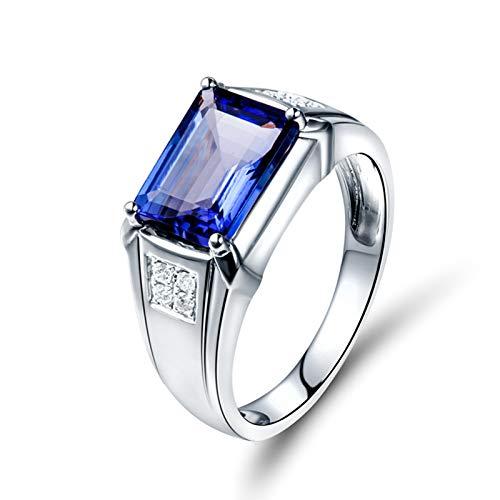 AnazoZ Silver Blue Wedding Band for Men,18K White Gold Engagement Rings for Men Rectangle 4ct Blue Tanzanite 0.12ct Diamond Ring Size P 1/2