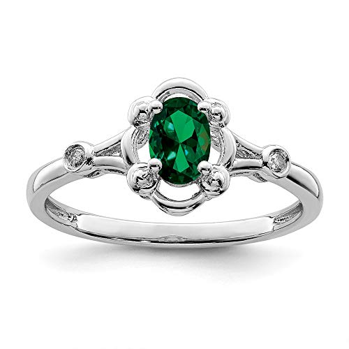 925 Sterling Silver Created Green Emerald Diamond Band Ring Size 9.00 Birthstone May Gemstone Fine Jewellery For Women Gifts For Her