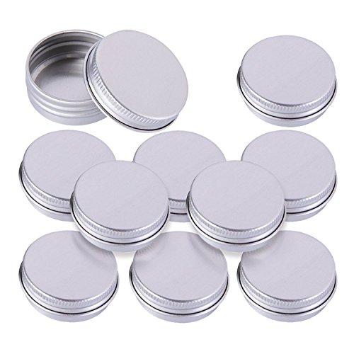 Nailfun Lot de 10 Aluminium petits pots avec couvercle Crème Boîtes Boîtes boîte à visser pour nail art vide, Baume pour les lèvres et les cosmétiques 10 ml