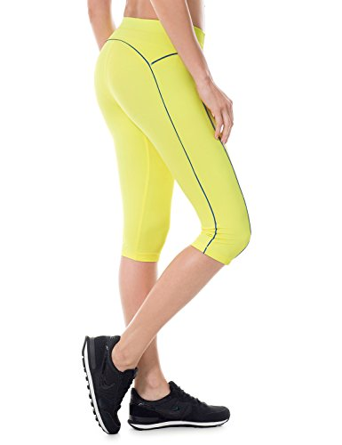Leggins amarillos mujer. Mallas Deportivas Cortas Para Mujer (corte de 3/4) Amarillo S