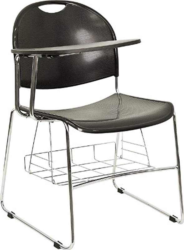 Flash Furniture Black Plastic Chair With Right Handed Flip Up Tablet Arm And Book Basket