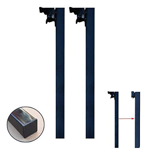 HXCD Faltbare Metall-Tischbeine, Vierkantrohr-Möbelbeine, schwere Esstischbeine, Stützbeine, multifunktionale unsichtbare Möbelfüße, für Esstisch, Stützsäule, Tisch, 2 Stück (50 cm, schwarz)