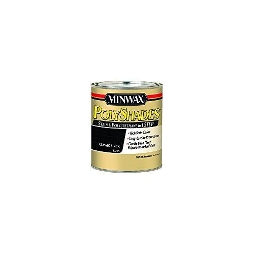 Minwax 219954444 Polyshades - Stain & Polyurethane in 1 Step, 275 VOC, 1/2 pint, Classic Black,...