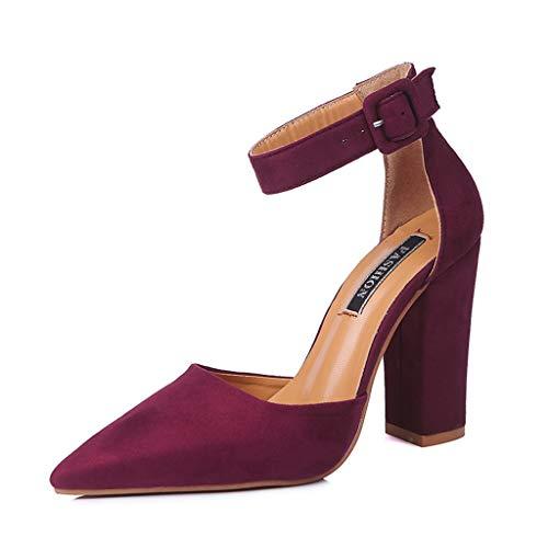 UMore Zapatos de Tacón Mujer Punta Abierta Sandalias Tira de Tobillo Tacón de Aguja Zapatos de Tacón Ancho con Tiras Traseras Mujer