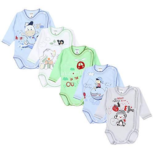 TupTam Unisex Baby Wickelbody mit Aufdruck 5er Set, Farbe: Junge, Größe: 68