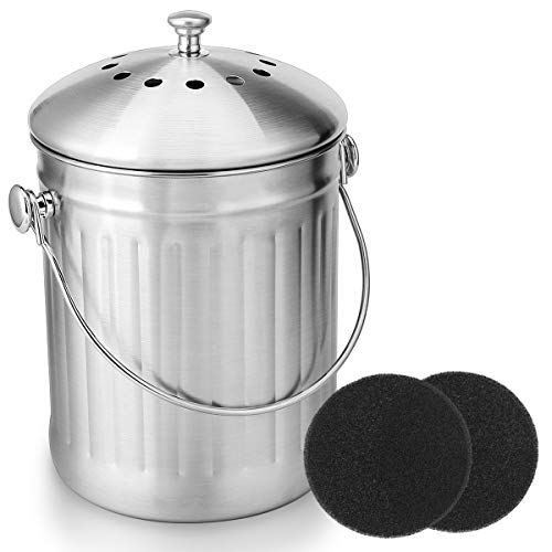 Fantastic Deal! ENLOY Compost Bin, Stainless Steel Indoor Compost Bucket for Kitchen Countertop Odor...