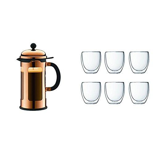 Bodum 11172-18 Chambord Cafetière à Piston avec 8 Tasses + Bec Verseur Verre Cuivre 1,0 L + Coffret à 6 verres Pavina 25 cl