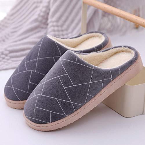 B/H Calzado Interior Antideslizante de Felpa al Aire,Zapatillas cómodas de algodón térmico de Fondo Suave,Zapatillas de casa de Pareja-Gris_44-45,Slippers Calienta y Cómodo