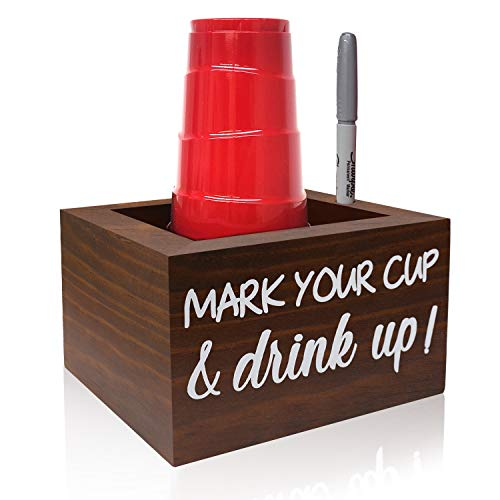 Brown Solo Disposable Cup Holder Drink Caddy Party Cup Holder Dispenser Wooden Organizer Storage...