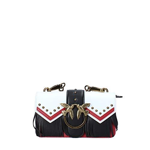 Pinko Mini Love Tricolor Tracolla Vitello, Borsa a spalla Donna, Multicolore (Bianco/Rosso/Nero), 7.5x12x21.5 cm (W x H x L)