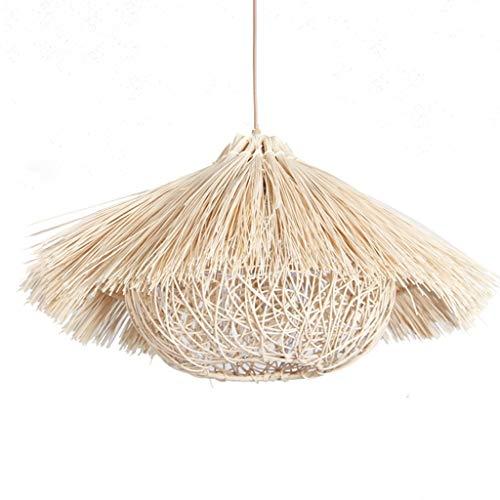 YANQING Moderno Lámparas de araña Lámparas de ratán Creativo, Pastoral del Sombrero de Paja Colgante Permetral luz, Restaurante Arte Retro Pendiente de la lámpara de iluminación (Color: Rattan Color)
