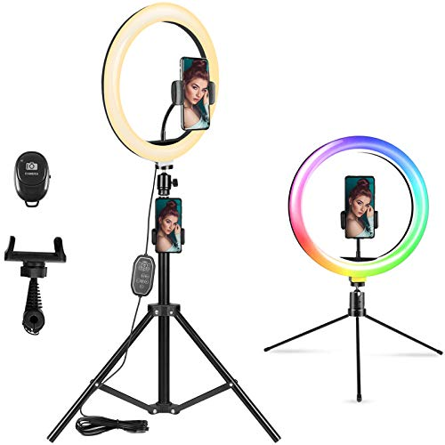 10.2' RGB Selfie Ring Light, LED Ring Light with Tripod Stand & Phone Holder, Desktop Circle Light...