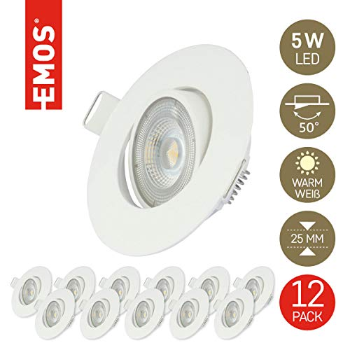 Emos Exclusive ultraflache LED Einbaustrahler 50° schwenkbar, Set mit 12 Stück Spots rund, 5W / 450lm / warmweiß 3000k, LED Modul Einbauleuchten (weiß)