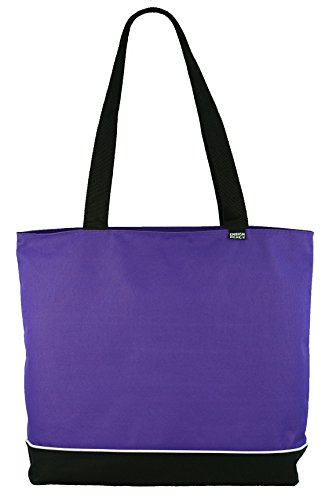 Shoulder Tote Bag with Zipper, Purple