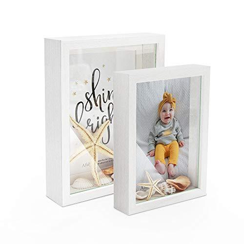 Afuly Weiß Shadow Box Bilderrahmen 3D Fotorahmen 10x15 15x20 cm Wand oder Schreibtisch