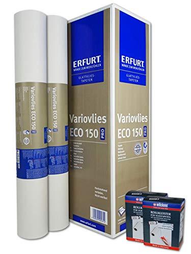 WACOLIT-SET 2 Rollen 37,5m² ERFURT Eco Vlies 150g + 2x Wilckens Rollkleister, Variovlies Malervlies überstreichbare Vliestapete