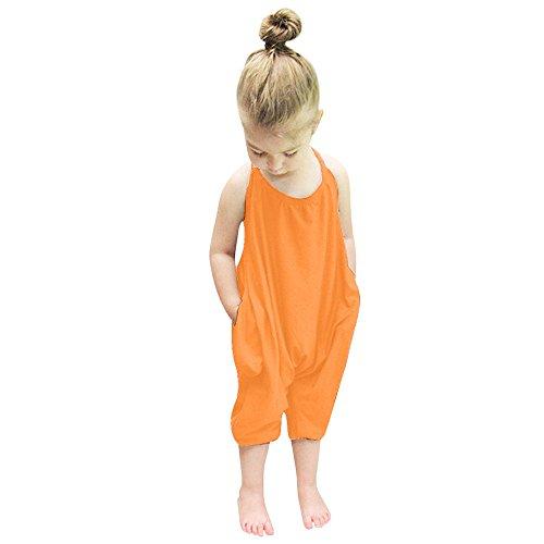 YWLINK Kleinkind MäDchen Riemen Strampler Overalls StüCk Hosen Kleidung Lose Neckholder Overall Elegant RüCkenfrei Mode Sommer Hosen(Orange,130)