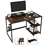 Nost & Host 47 Inch Home Office Desk with Storage Shelves, Computer Desk with Monitor Stand and Headphone Hook, Industrial 2-Tone Small Writing Work Desk Study Table, Rustic Brown and Black