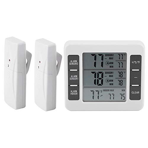 Termómetro digital para refrigerador, termómetro inalámbrico para congelador con sensor de 2 piezas para electrodomésticos de cocina domésticos