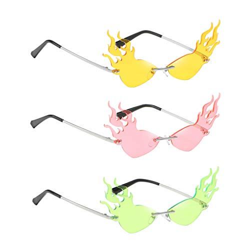NON Gafas de Sol 3X Flame Gafas de Sol Sin Montura Elegantes Club Shades