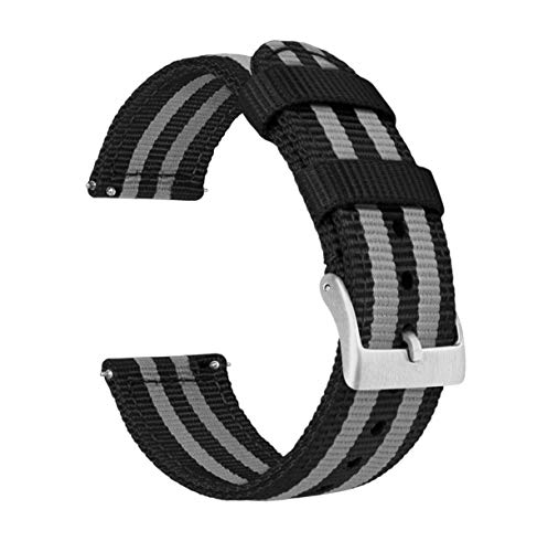 22mm Black & Smoke Bond - Two-Piece Military Style Ballistic Nylon Watch Straps with Integrated quick release spring bars - BARTON Watch Bands- Comfortable fit - Fits wrists 5