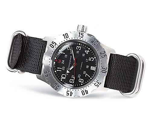 VOSTOK   Komandirskie K-35 Reloj de pulsera militar ruso automático   WR 328.1ft   Serie 35K   Moda   Negocios   Relojes Casual Hombre, 350754 Verde, Cuerda automática